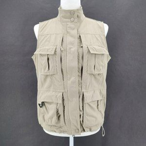 Travelsmith Khaki Outdoor Pockets Zipper Vest S